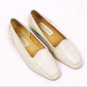 """CALICO minimalist ivory """"Cruise"""" leather loafers"""